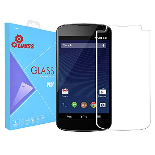 LUVSS 0.26mm Screen Protector for Nexus 4 [Tempered Glass], Scratch Proof Bubble Free Ballistics Glass Armor Screen Shield Protector Film for LG Google Nexus 4 - Clear