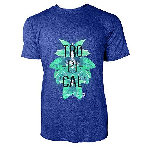 SINUS ART® Tropischer Print mit Palmblättern Herren T-Shirts in Vintage Blau Cooles Fun Shirt mit tollen Aufdruck