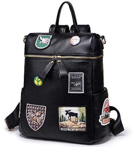 Women Convertible Bag for Leather Backpack Rucksack Ladies Travel Handbag Black Faux Purse Small Bag rqzrSZU