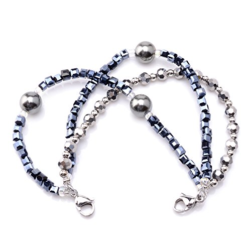 (Medical ID Triple Navy/Silver Strand Beaded Interchangeable Bracelet)