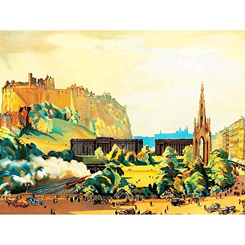 (Wee Blue Coo Painting Cityscape Edinburgh Castle Scott Monument Gallery Unframed Wall Art Print Poster Home Decor Premium)