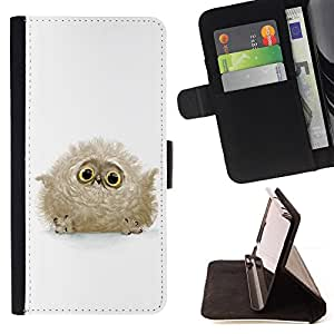 DEVIL CASE - FOR HTC DESIRE 816 - Fluffy Owl Baby Bird Grey Big Eyes Cute - Style PU Leather Case Wallet Flip Stand Flap Closure Cover
