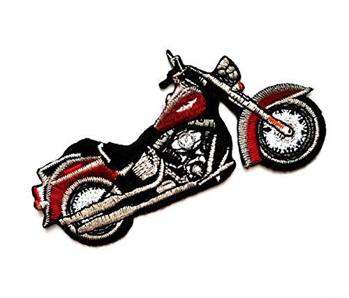 4.3'' X 2.4'' Brown Motorcycle bike hog biker cruiser chopper Design Racing logo jacket t-shirt Jeans Polo Patch Iron on Embroidered Logo Sign Badge Motorcycle Cartoon patch by Tour les (Bike Week Chopper Motorcycle T-shirt)