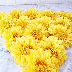 TRvancat Silk Marigold Flower Heads 15Pcs, 4″ Artificial Marigold Flowers for Flower Arrangements Party Decor