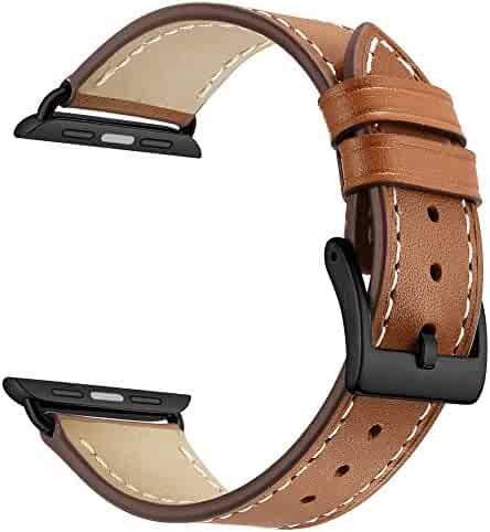 Apple Leather Watch Band Leather Replacement Watch Strap with Stainless Metal Buckle Clasp iwatch series 1 2 3 Replacement strap (42mm, Brown)