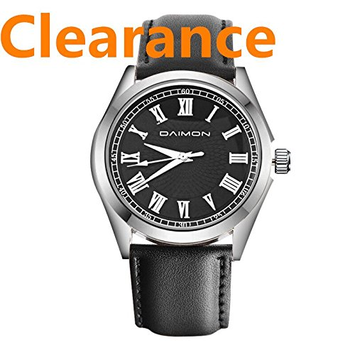 Men's Watches with Black Leather Strap Fashion Wrist Watch for Men Gents Black Leather Watch
