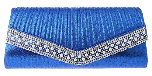 SHOULDER Blue HAND Royal BAG EVENING LADIES WOMENS PROM CHAIN CLUTCH HOTSTYLEZONE GLITTER BRIDAL SHIMMER 8OSF87v6
