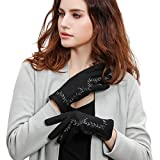GSG Womens Stylish Floral Embroidery Wool Gloves Full Finger Winter Novelty Gloves Lady Durable Leather Warm Black