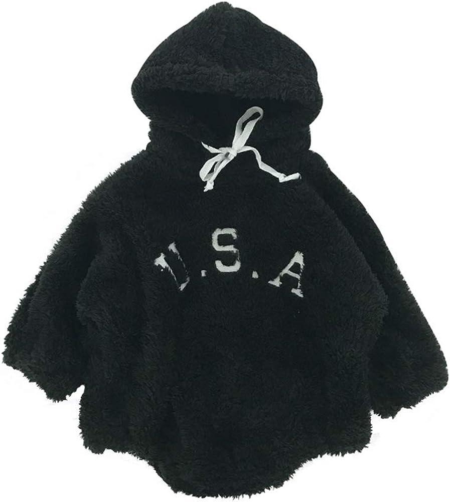 Toddler Baby Plus Velvet Romper Letter Print Cotton Hooded Triangle Jumpsuit Black