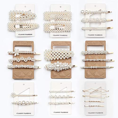 Cehomi 24 Pcs Pearl Hair Clips Barrettes Hairpins for Women Girls, Elegant Handmade Fashion Headwear Styling Tools Hair…