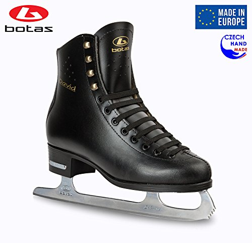 Botas model: DAVID/Made in Europe (Czech Republic)/Figure Ice Skates for Men, Boys/SABRINA blades/Color Black, Size: Adult 12