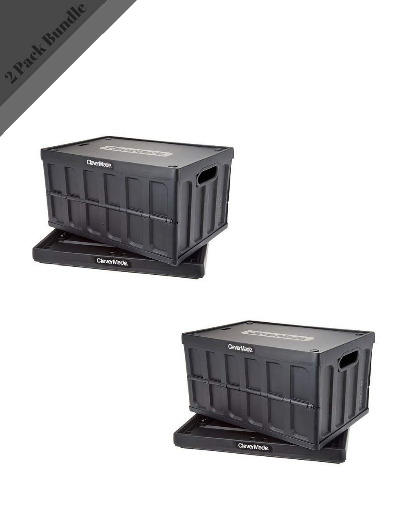 Clever Made CleverCrates 62 Liter Collapsible Storage Bin/Container: Solid Wall Utility Basket/Tote with Lid (2 Pack) (Black)