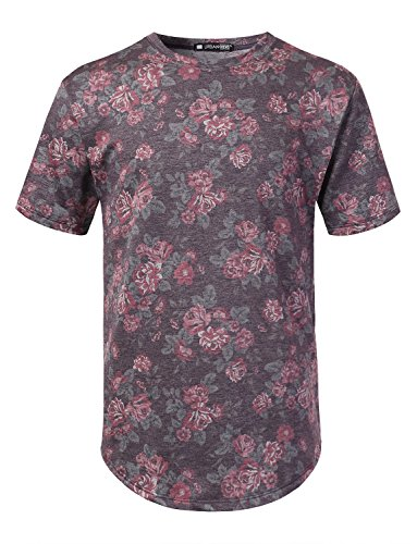 URBANCREWS Mens Hipster Hip Hop Rose Print French Terry Tee Plum (Floral Plum)
