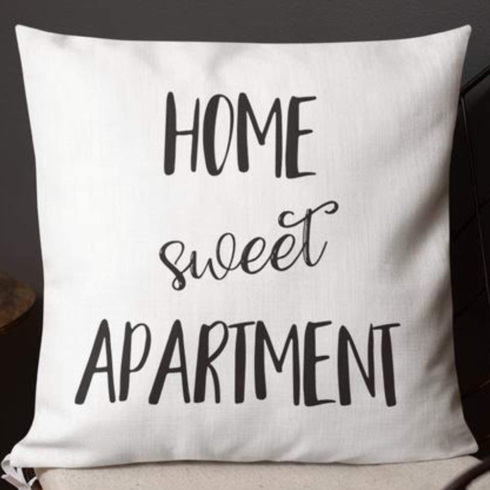 Home Sweet Apartment Pillow Case Covers Funny New Apartment Gifts Decor Machine Washable Two Side Invisible Zipper Color:Home Sweet