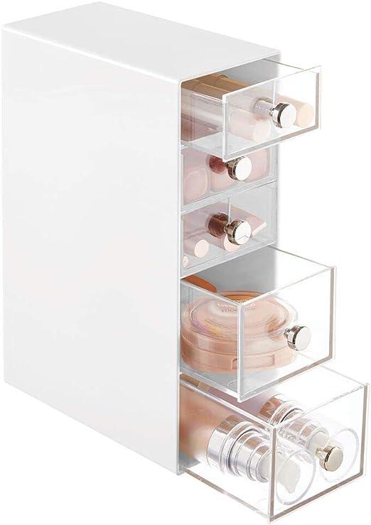 mDesign Organizador de maquillaje – Caja de almacenamiento con 5 ...