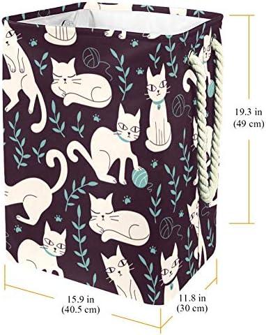 Tizorax Panier à linge en PVC imperméable avec poignée souple et fond épais Motif chats