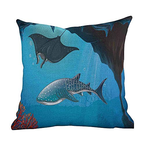 (Matt Flowe Home Decor Pillowcase,Shark,Shark Deep Water Stingray with Coral Reefs Algae Rocky Cave Exotic Cartoon Style Art,Blue Grey,with Hidden Zipper Cushion Covers18 x18)