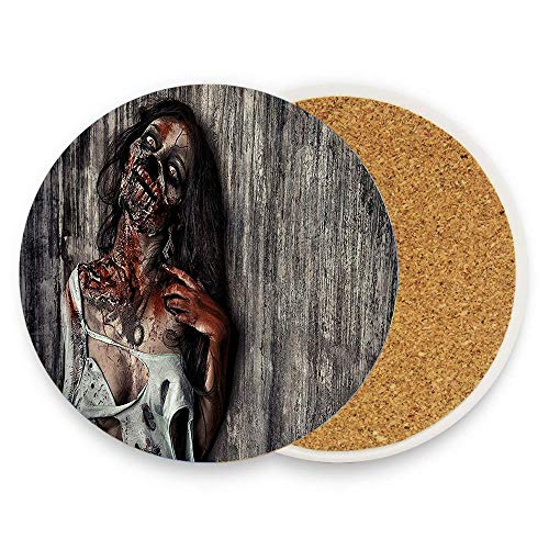 HappyToiletLidCoverX Zombie Angry Dead Woman Sacrifice Fantasy Mystic Night Halloween Image Dark Taupe Peach Red Ceramic Coaste Glass Cup Holder Coffee Mug Place Mats for Drinks Pack Of 1]()