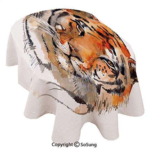 SoSung Tiger Oval Polyester Tablecloth,Feline Animal with Calming Stare Hand Drawn Watercolor Art Exotic Wildcat Hunter,Dining Room Kitchen Oval Table Cover, 60 x 84 inches,Orange Black