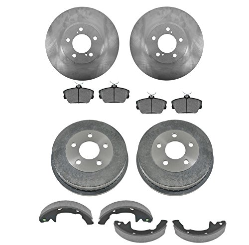 Front & Rear Posi Ceramic Disc Brake Pads Rotors Shoes & Drum Kit Set for Ford