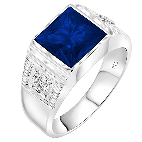 Men's Sterling Silver .925 Ring with 3.5ct Blue Princess Cut Center CZ Stone and 2 White Cubic Zirconia (CZ) Stones (11)