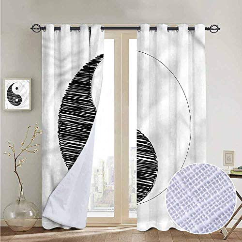 NUOMANAN Kitchen Curtains Ying Yang,Doodle Cosmos Zen Power,Rod Pocket Drapes Thermal Insulated Panels Home décor 120