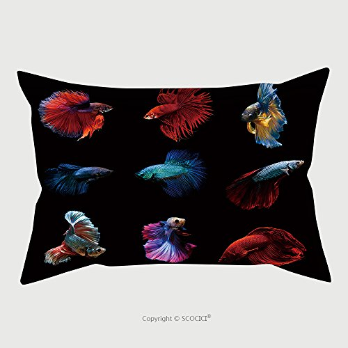 Custom Microfiber Pillowcase Protector Betta Fish Siamese Fighting Fish Betta Splendens Aquarium Moment Of Siamese Fighting Fish 367904708 Pillow Case Covers Decorative