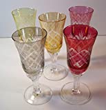 Cordial Glasses, Gorham Crystal, Multi-Color Crystal Hand-Etched, Set of 5, 5 Inches