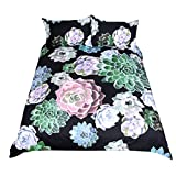WarmGo Duvet Cover Set Queen Size with Zipper Closure 3 Pieces (1 Duvet Cover + 2 Pillowcases) 3D Oil Succulent Plants Printing Design Bedding Set Microfiber Polyester - Without Comforter