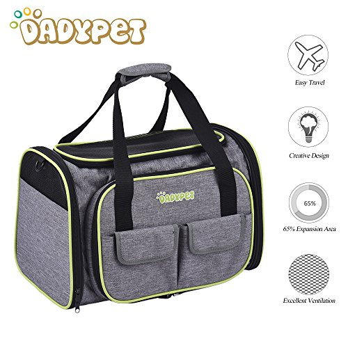DADYPET Pet Carrier,Dog Carrier,Cat Carrier,Expandable Pet Carrier, Airline Approved Pet Carrier for Cat,Puppy Carrier 600D Material with Fleece Mat Easy Carry on Luggage with Pockets to Store (Wheels Airline Approved Pet Carrier)