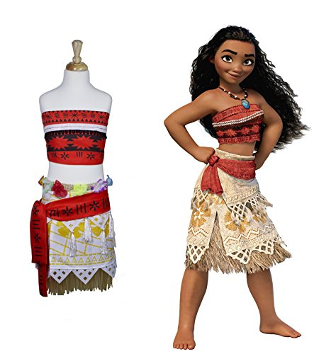 Flower Costumes Sexy Child (Moana Girls Costume Skirt set with Necklace and wig (8 - 9)