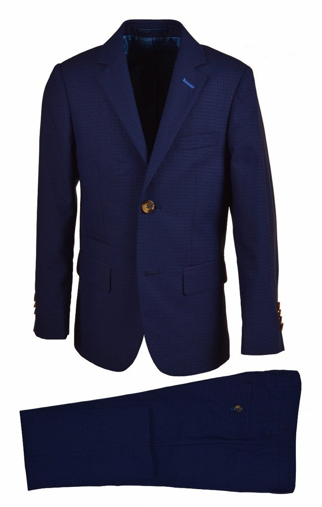 Isaac Mizrahi Big Boys' Gingham Check 2 Piece Suit, Navy, 16