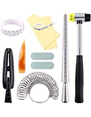 Keadic 12Pcs Jewelry Ring Sizer Tools Set, Ring Mandrel, Ring Sizer, Ring Clamp, Rubber Hammer, Plastic Ring Sizer Gauge, Jewelry Cleaning Cloth, Buffing Bars, Polished Agate and Storage Bag