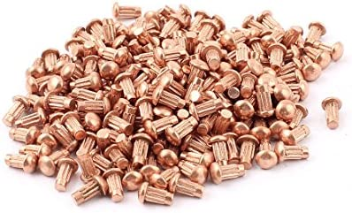 Uxcell a15091700ux0452 50pcs 3//16 Dia 1//4 L Shank Round Head Copper Solid Rivets Fasteners