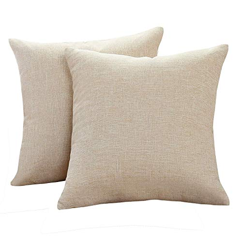Sunday Praise Cotton-Linen Decorative Throw Pillow Covers,Classical Square Solid Color Pillow Cases,18x18 inches Cushion Covers for Sofa Couch Bed&Car,Pack of 2 (Beige) (Beige Accent Pillows)