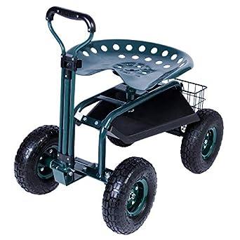 KARMAS PRODUCT SteerableGarden Stool Cart