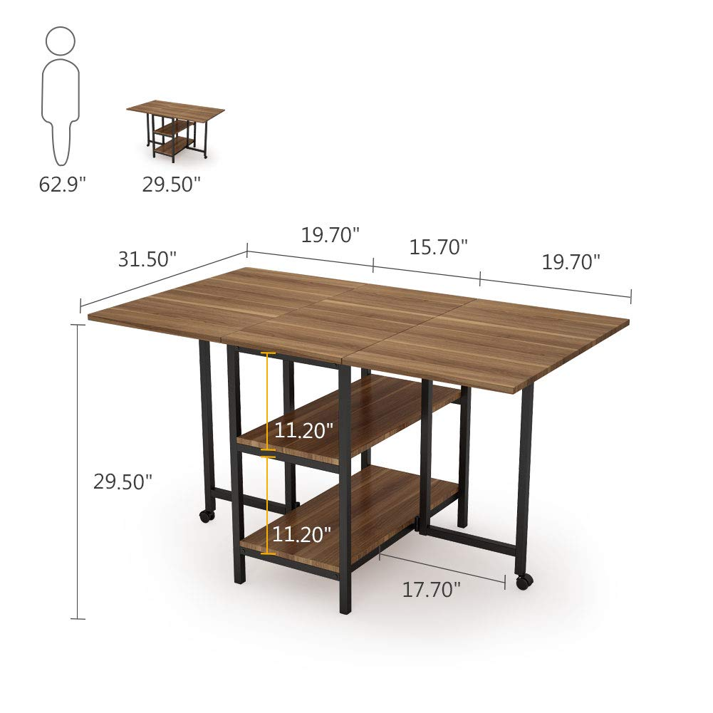 Folding Dining Table, Tribesigns Expandable Dining Table with Double Drop Leaf, Extra 2-Tier Storage Shelf, 2 Lockable Casters for Home Kitchen Use, Chairs Not Included. by Tribesigns (Image #7)