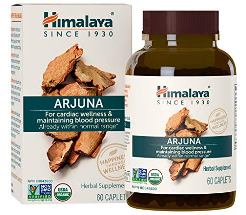 Himalaya Organic Arjuna 60 Caplets for Cholesterol, Blood Pressure & Healthy Heart Function Support 700mg, 2 Month Supply (Best Natural Herbs For High Cholesterol)