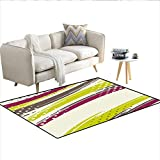 Carpet,Grunge Inspired Lines with Vibrant Colors Polka Dots Retro...