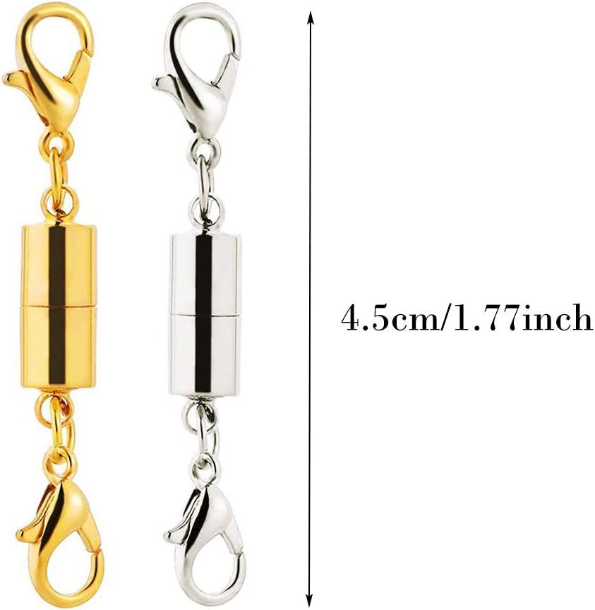 MUCHEN SHOP Magnetic Lobster Clasp,10 Pack Jewelry Extender Chain Extender Magnet Clasp for Necklace Bracelet Silver Gold