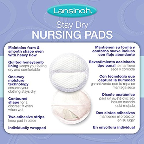 Large Product Image of Lansinoh Nursing Pads, 2 Packs of 100 (200 Count) Stay Dry Disposable Breast Pads
