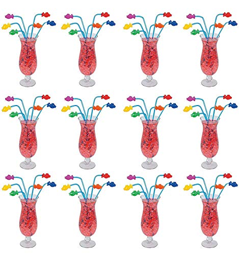 (Kicko 12 Plastic Tropical Fish Straws 8 Inch, Assorted Colors - Reusable Bent Neon Smoothie Straws, Decorative Cocktail Drinking Straws, Great for Parties)