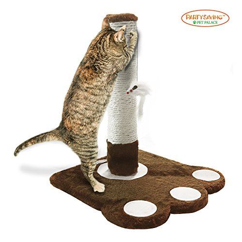 51ij4cjwEiL - PARTYSAVING PET PALACE Cat Claw Scratching Sisal Post 19-inch Tall for Kittens and Cats with Toy Mouse, APL1345, Brown