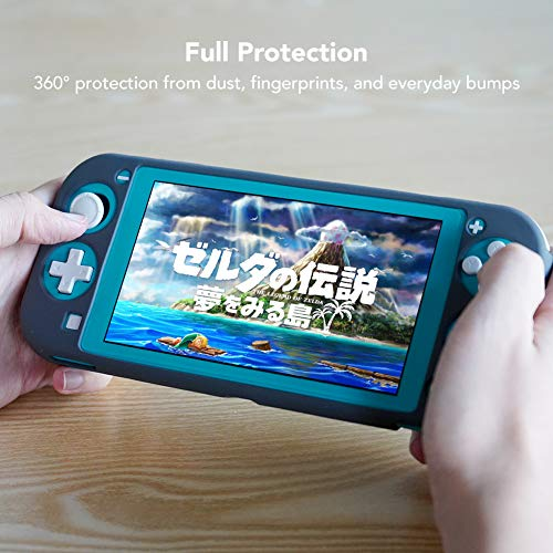 Silicone Case for Nintendo Switch Lite, KIWI design Soft Silicone Anti-Slip Shockproof Protective Cover Case with Full Protection Body for Nintendo Switch Lite 2019(Gray)