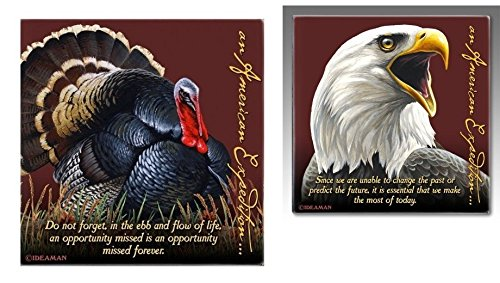 (American Expedition Signature Series 8 Pc. Coaster Set -Wild Turkey & Bald Eagle)