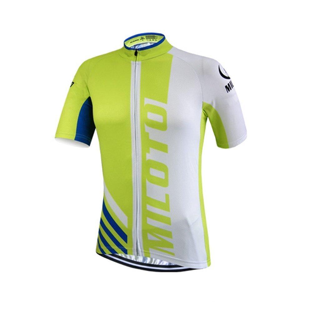 calmmoodメンズサイクリングジャージフルZip Bikingシャツショートバイク服自転車ジャケットポケット付き B078B7FWW2 Medium|Half Green Half Green Medium