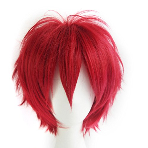 (Alacos Anime Wig Burgundy Wine Red Hair Cosplay Man Short Anime Wig +Wig)