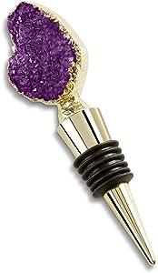 Kate Aspen Geode Bottle Stopper/Wine Preserver/Home Décor Favor, purple, gold