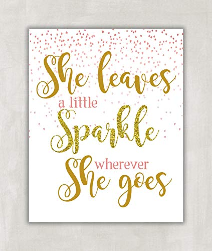 She Leaves a Little Sparkle Wherever She Goes - Children's Wall Art Print, Nursery Wall Art - Pink and Gold Print - Falling glittery pink hearts 8x10 ((Unframed)) (She Leaves)