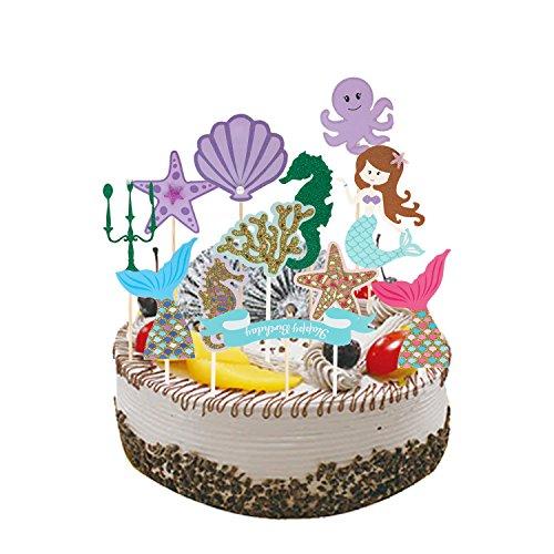 Mermaid Cake Ideas (Mermaid Cupcake Toppers Mermaid Cupcake Picks Mermaid Cake/Food/Appetizer/Desert Topper Decorations Pack of)